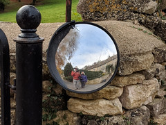 Nag's Head reflection (LeftCoastKenny) Tags: england day9 nagshead mirror reflection stonewall post gate grass selfie
