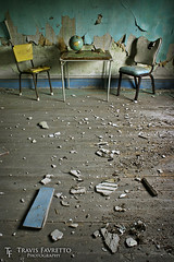 The Anteroom (tfavretto) Tags: abandoned algoma chairs debris dilapidated decrepit dirt drywall earth floor forgotten geography globe interior maps peeling table wallpaper walls 638