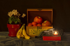 Cyclamen and Fruit (mevans4272) Tags: fruit flowers box book candle still life red green blue orange yellow