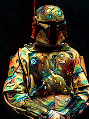 Boba Fett (Steve Taylor (Photography)) Tags: bobafett helmet aerial breastplate armour digitalart colourful contrast strange man newzealand nz southisland canterbury christchurch texture addington armageddonexpo armaggedon costume outfit starwars