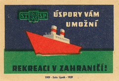 czechoslovakian matchbox labels (maraid) Tags: czechoslovakia czech czechoslovakian matchbox labels stsp savings bank boat steamer sea ship transport 1950s 1959 label packaging