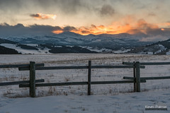 On The Fence (kevin-palmer) Tags: bighornmountains bighornnationalforest wyoming buffalo february winter cold snow evening sunset gold golden color colorful fence orange dartonpeak peakangeline clouds hospitalhill nikond750 tamron2470mmf28