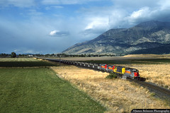 Sunshine and Shade in Juab County (jamesbelmont) Tags: utahrailway unionpacific nephi utah coal emd sd40 f45 mtnebo cuwip santafe railroad railway train locomotive clouds