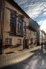 Golden hour street. HDR (kud4ipad) Tags: 2018 latvia riga street architecture cityscape building ray sky