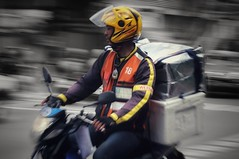 City moves (leewoods106) Tags: thailand bangkok courier bike motorbike man thai asia southeastasia helmet panning yellow gloves