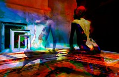 Dig (Bamboo Barnes - Artist.Com) Tags: surreal mannequin pictureframe secondlife black red blue vivid light shadow digitalart bamboobarnes yellow abandoned reflection distressed room wall green purple