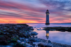 New Brighton Lighthouse sunset and water reflection (Marcin Frączek) Tags: newbrighton lighthouse cloud reflection light sunrise beautiful beacon shore landmark dusk horizon coast evening landscape northwest wallasey abigfave