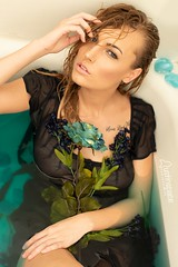 Kailey (austinspace) Tags: woman bath portrait spokane washington blond blonde wet nude naked flower flowers