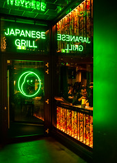 Japanese Grill (Davey Psychotronic) Tags: olympusuk olympus street streetphotography london soho japanese dining dinner grill green window neon