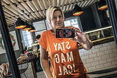In the vegan place (Melissa Maples) Tags: antalya turkey türkiye asia 土耳其 apple iphone iphonex cameraphone restaurant chifinefoodatelier me melissa maples selfportrait woman blonde staymagical shirt reflection mirror photographer orange