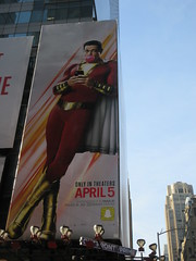 Shazam The Big Red Cheese Billboard 42nd St NYC 3814 (Brechtbug) Tags: shazam billboard 42nd street new captain marvel the big red cheese poster ad nyc 2019 times square movie billboards york city work working worker paint painting advertisement dc comic comics hero superhero alien dark knight bat adventure national periodicals publication book character near broadway shield s insignia blue forty second st fortysecond 03142019 lightning flight flying march