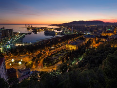 Malaga from above (f.dalmulder4) Tags: olympus omd omdem1mk2 1240mmf28pro microfourthirds micro43 mft malaga spanje spain water sunset bluehour harbor harbour haven city andalucia