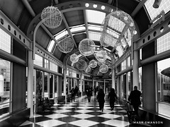 Light Globes in Chicago (mswan777) Tags: terminal concourse walk building architecture interior indoor fly travel people airport chicago illinois ord monochrome black white ansel apple iphoneography iphone mobile