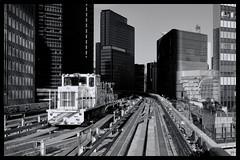 Tokyo: Impressions of a great city (Matthias Harbers) Tags: hobby photo life nikon 1 v3 dxo photoshop japan bw black white nikkor outdoor elements topazlabs omot tokyo metropolitan living home monochrome city street impression streetphotography nikon1v3 train track publictransportation yurikamome