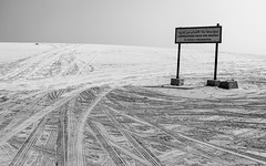 Highly Prohibited (Torsten Reimer) Tags: sign sand tracks asia himmel sky katar desert wüste monochrome schwarzweis blackandwhite qatar arabia alwakrahmunicipality qa
