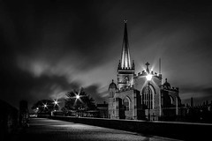 Saint Columb's Cathedral and the Derry Walls (Markmac255) Tags: church structure derry londonderry night longexposure cloudy windy walls path blackwhite cathedral landscape nature trees lights nireland churchofireland
