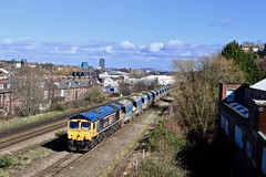 66778 Heeley Up Loop, Sheffield 11 Mar 19 (doughnut14) Tags: 66778 darius cheskin gbrf rail freight diesel loco sheffield heeley lakes 6m83 tinsley bardon cum quarry stone shed class66 rydal woodseats