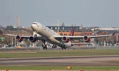 G-VRED - Airbus A340-642 - LHR (Seán Noel O'Connell) Tags: virginatlantic gvred airbus a340642 a340 a346 heathrowairport heathrow lhr egll 27r ewr kewr vs1f vs001 aviation avgeek aviationphotography planespotting