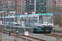 Metrolink 1020 (Mike McNiven) Tags: manchester metrolink tram metro lightrail lrv t68 oldtrafford trafford depot track rail retro