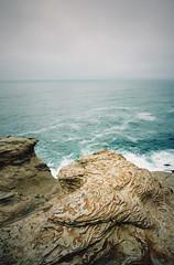 the cliffs that bear witness (manyfires) Tags: ocean oregon pacificnorthwest pnw pacificocean shore shoreline coast coastline cliffs viewpoint capekiwanda pacificcity pacific nikonf100 35mm analog film sea seascape landscape