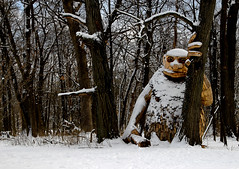 Neils Bragger (LotusMoon Photography) Tags: winter trees snow troll statue wooden construction installation artistic art artwork arboretum woods forest mortonarboretum neilsbragger recycled giant annasheradon lotusmoonphotography