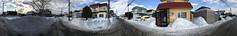 Roadish Panorama (sjrankin) Tags: 21february2019 edited neighborhood snow ice road slush clouds weather sky houses lines wires kitahiroshima hokkaido japan panorama 360° 360°panorama