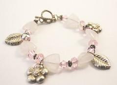 Pink quartz and Precious metal clay bracelet (Bits of Clay) Tags: handmade pink quartz bracelet preciousmetalclay charms