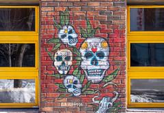 De joyeuses têtes de mort! (Nicojuli) Tags: murale couleurs colors squelette fenêtre window montreal