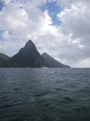 view of the Pitons from the water - Soufriere, St Lucia (h_savill) Tags: 2019 february feb holiday travel vacation tourist trip explore worldwide st lucia caribbean antilles windward isle soufriere piton view landscape beach sea water marine anse chastanet ansechastanet boat stlucia ocean