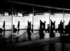 repetition (heinzkren) Tags: airport vie vienna wien schwechat flughafen schwarzweis blackandwhite bw sw monochrome panasonic lumix people reflection spiegelung glass glas fenster again magical mystery light street streetphotography urban candid scenery silhouette abstract