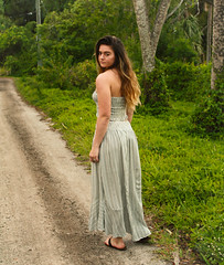 Wanderlust (ixorasmomma) Tags: summer florida girl young woman dress blue white outdoors water nature happy green trees leaves long longhair brunette