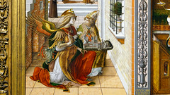 Crivelli, The Annunciation, detail with Gabriel and Emidus