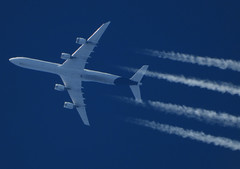 D-AIHI (zhirenchen) Tags: airbus a340 a346 a340600 340600 340 346 cruise high altitude contrail stream cloud trail vapor tail track steam chemtrail rnav inflight nikon coolpix p1000 megazoom telephoto telescope 3000mm jet plane airplane spotting aircraft airline airliner flight flightradar24 fr24