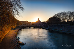 Sunset over Tiber river (Michał Banach) Tags: canonef1635mmf4lisusm canoneos5dmarkiv italy rome rzym stpetersbasilica tiber ancient architecture bluesky citycityscape clearsky evening holiday river spring sun sunset it