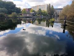 2017-09-22 | 02 | heron at Caversham weir (Mark & Naomi Iliff) Tags: river thames caversham heron weir clouds reflections