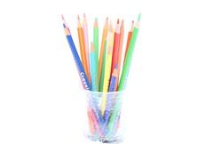 DIY Spring - too artificial (mistake 1 of 2) (Kerri Lee Smith) Tags: pencils coloredpencils vase snow backyard winter sooc overexposed diy colors springcolors