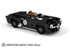 Mercedes-Benz 190SL Racer (lego911) Tags: mercedes benz mercedesbenz 190 190sl sl racer 1950s cassic 1955 w121 convertible roadster lightweight german germany auto car moc model miniland lego lego911 ldd render cad povray foitsop
