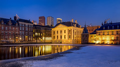 Snow in The Hague (zilverbat.) Tags: denhaag longexposure zilverbat longexposurenetherlands snow sneeuw longexposurebynight bluehour mauritshuis museum reflections reflection nightphotography nightshot nightlights night nightimage history ngc architecture buildings holland hofstad hotspot canon bild binnenstad binnenhof hofvijver europe europa exposure urbanvibes urban rutte winter koud cold ijs ice courtpond codegeel knmi weer sneeuwfront vriezen vrieskou frozen