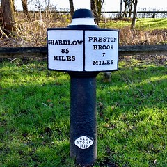 Mile Marker Post (rustyruth1959) Tags: miles prestonbrook shardlow grass paint milepostcampaign trentandmerseycanalsociety fence towpath canal post rdstone milemarker milepost trentandmerseycanal anderton cheshire england uk tamron16300mm nikond5600 nikon text writing sign tree