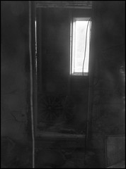 MR I ([ Time - Beacon ]) Tags: tb blackandwhite bw blackwhite bnw monochrome monochromatic interior abandoned building window wheels