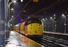 Colas Loco 37116 is tail end charlie on a Network Rail Track Measurement Train, from Cambridge to Cambridge, via East Anglia, departing a rain soaked Ipswich. 08 03 2019 (pnb511) Tags: trains railway locomotive loco diesel engine track rail infrastructure networkrail ipswich station night wet reflections lights class37 train colas freight rain precipitation
