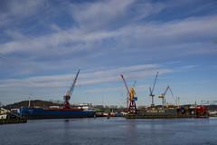 Cloudy Afternoon (Rudi Pauwels) Tags: 2019onephotoeachday gothiariver gothenius gotheniusvarv shipyard ships drydock cranes clouds cloudy reflections