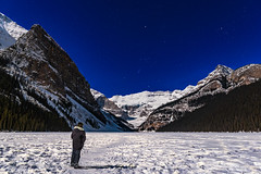 Selfie at Lake Louise in Moonlight (Amazing Sky Photography) Tags: banff lakelouise march moonlight nationalpark orion victoriaglacier ice observer selfie snow winter