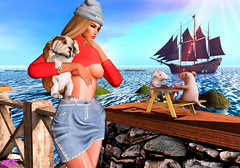 Walking my Puppy (alexandra sunny) Tags: ella catwa maitreya aviglam sintiklia secondlfe blog blogger puppy woman sea limit8