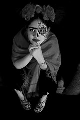 Day of the dead Frida (El Cheech) Tags: frida littlefrida fridakahlo fridakahlocostume dayofthedead dayofthedeadmakeup dayofthedeadfestival diadelosmuertos blackandwhitephotography blackandwhite costume ayana portrait mexican mexicana elcheech elcheechphotography cheechography