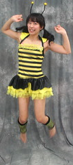Flight Of The Bumble Bee (emotiroi auranaut) Tags: pretty beauty jump jumping leap leaping buzz bee bumblebee spring eager ready girl woman model cute