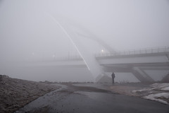 Bridge to the otherworld (Kurayba) Tags: edmonton alberta canada fog foggy morning march 23 2019 walterdale bridge new cloud cloudy clouds pentax k1 pea soup weather heavy wet grey ethereal suspension woman otherworld photographer path hdpentaxdfa2470mmf28edsdmwr dfa 2470 f28