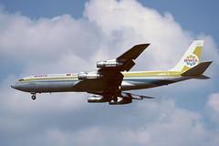 9Y-TEX Boeing B707-321B EGLL 1980 (MarkP51) Tags: 9ytex boeing b707321b b707 bwia bwiawestindiesairways bw bwa london heathrow airport lhr egll england airliner aircraft airplane plane image markp51 sunshine sunny aviationphotography olympus om1 kodachrome64 kodachrome slide film scan
