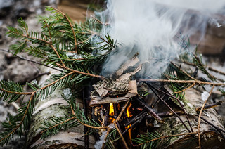 Making a fire with birch bark