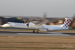 Bombardier DHC-8-402 Q400 – Croatia Airlines – 9A-CQB – Brussels Airport (BRU EBBR) – 2019 02 18 – Landing RWY 25L – 01 – Copyright © 2019 Ivan Coninx (Ivan Coninx Photography) Tags: ivanconinx ivanconinxphotography photography aviationphotography brusselsairport bru ebbr bombardier bombardierdhc8 dhc8 q400 dhc8q400 dash8 dhc8dash8 croatiaairlines 9acqb turboprop landing panning